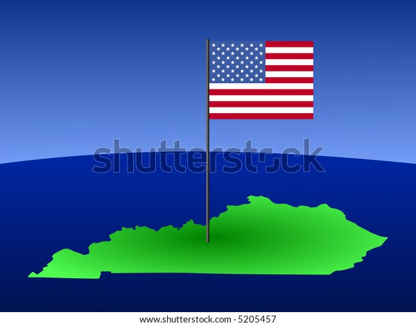map of Kentucky with American Flag on pole