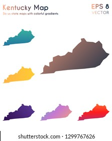 Map of Kentucky with beautiful gradients. Beauteous set of Kentucky maps. Extra vector illustration.