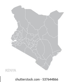Map of Kenya. Vector.