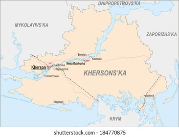 Map of Kherson region with major cities and roads