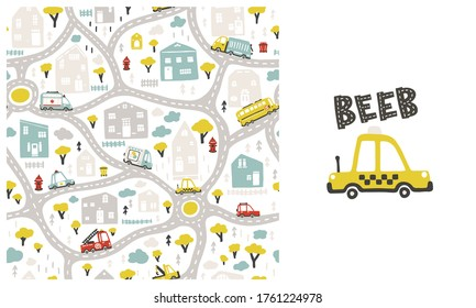 Map of kids city with roads and transport. Vector seamless pattern and illustration with taxi car in the set. Cartoon in childish hand drawn scandinavian style. Ideal for baby clothes. Beeb