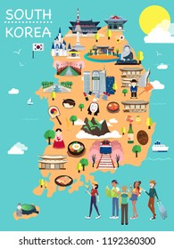Map Of Korea Attractions Vector And Illustration.