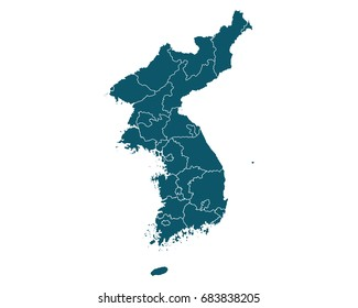 Map of Korea - High detailed on white background. Abstract design vector illustration eps 10.