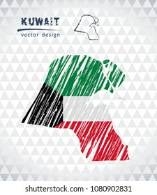 Map of Kuwait with hand drawn sketch pen map inside. Vector illustration