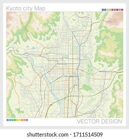 日本の京都市の地図、ベクターイラスト。