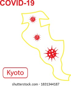 """Map of Kyoto labeled """"COVID-19"""". Yellow outline map on a white background. Vector illustration of a virus, coronavirus, epidemiology."""