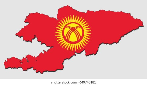 Map of Kyrgyzstan, Filled with the National Flag