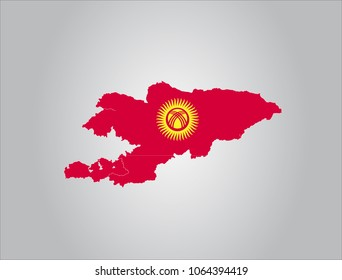 Map of kyrgyzstan with flag,vector illustration