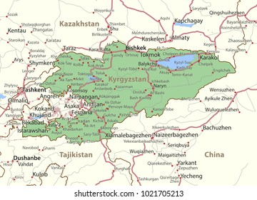 Map of Kyrgyzstan. Shows country borders, urban areas, place names and roads. Labels in English where possible.Projection: Mercator.