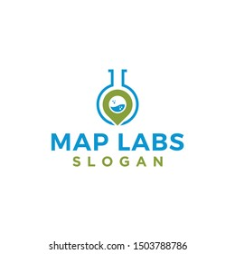 map labs nature logo design vector