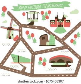 Map of landmarks of Amsterdam, The Netherlands. Landmarks guide icons set, vector illustration. Rijksmuseum, windmill, tulip, Zaanse Schans, NEMO, canal boat cruise, Van Gogh, Vondelpark.