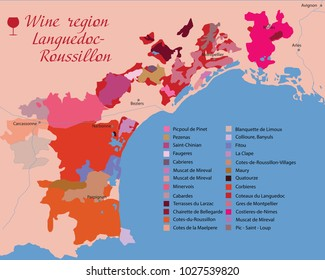 map Languedoc-Roussillon wine