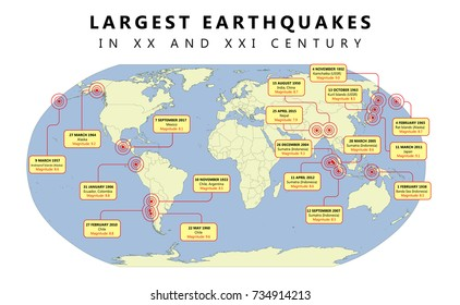 Map of largest earthquakes in XX and XXI century