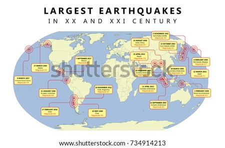 Map Largest Earthquakes XX XXI Century Stock Vector (Royalty Free ...