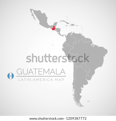 Map Latin America Identication Guatemala Map Stock Vector Royalty