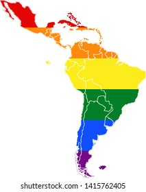 Map of Latin America with the LGBT Pride flag,