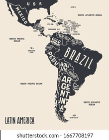 Map Latin America. Poster map of Latin America. Black and white print map of Latin America for t-shirt, poster or geographic themes. Hand-drawn graphic map with countries. Vector Illustration