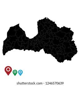 Map of Latvia, High Detailed Map of Latvia isolated on white background.Vector illustration eps 10