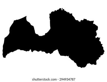 Map of Latvia isolated on white background
