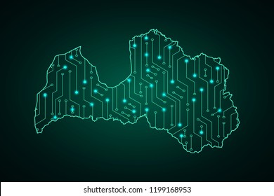 Map of Latvia, network line, design sphere, dot and structure on dark background with Map Latvia, Circuit board. Vector illustration. Eps 10