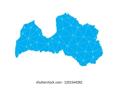 Map of Latvia from Polygonal wire frame low poly mesh,Latvia map Vector Illustration EPS10.