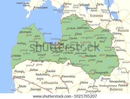 Map Latvia Shows Country Borders Urban Stock Vector (Royalty Free ...
