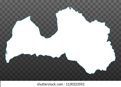 Map of Latvia. Vector illustration on transparent background. Items are placed on separate layers and editable. Vector illustration eps 10.