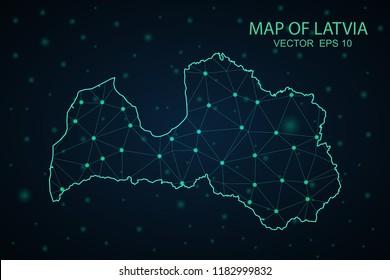 Map Latvia. Wire Frame 3D mesh polygonal network line, design sphere,Latvia map on dark background. Vector illustration eps 10.