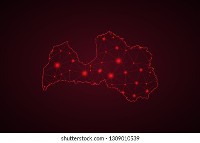 Map of Latvia. Wire frame 3D mesh polygonal network line, design sphere, dot and structure. communications map of Latvia. Vector Illustration EPS10. - Vector