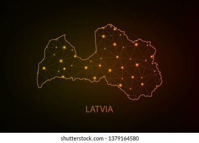 Map of Latvia. Wire frame 3D mesh polygonal network line, design sphere, dot and structure. communications map of Latvia. Vector Illustration EPS10. - Vector - Vector