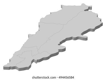 Map - Lebanon - 3D-Illustration