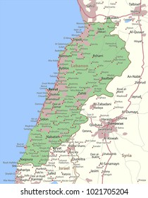 Map of Lebanon. Shows country borders, urban areas, place names and roads. Labels in English where possible.Projection: Mercator.