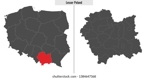 map of Lesser Poland voivodship province of Poland and location on Polish map
