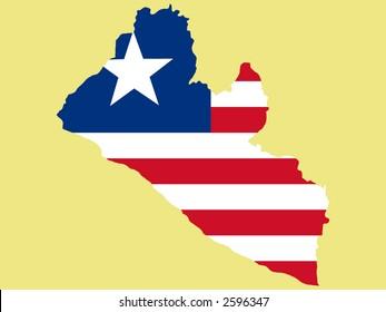 map of Liberia and Liberian flag illustration