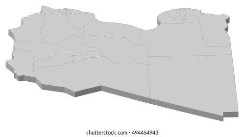 Map - Libya - 3D-Illustration