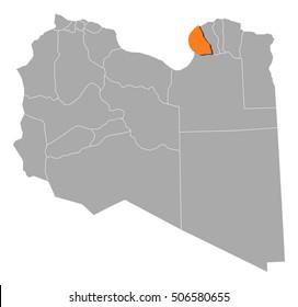 Map - Libya, Benghazi