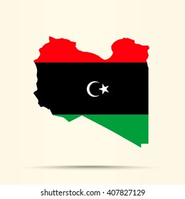 Map of Libya in Libya flag colors