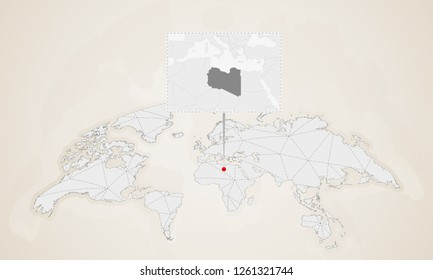 Abstract Blue World Map Magnified Libya Stock Illustration 508112494 ...