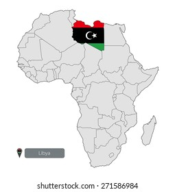 Map of Libya with an official flag. Location on the continent of Africa