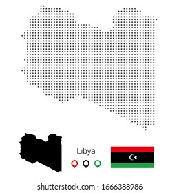 Map of Libya vector dotted, with flag and pin