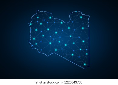 Map of Libya. Wire frame 3D mesh polygonal network line, design sphere, dot and structure. communications map of Libya. Vector Illustration EPS10.