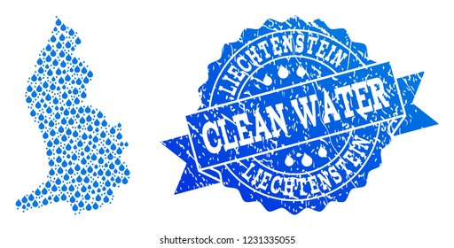 Map of Liechtenstein vector mosaic and clean water grunge stamp. Map of Liechtenstein composed with blue water drops. Seal with grunge rubber texture for pure drinking water.