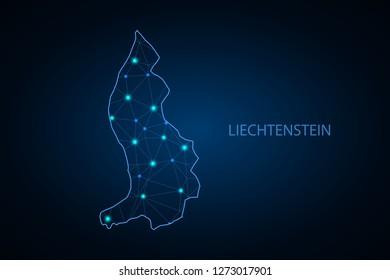 Map of Liechtenstein. Wire frame 3D mesh polygonal network line, design sphere, dot and structure. communications map of Liechtenstein. Vector Illustration EPS10. - Vector