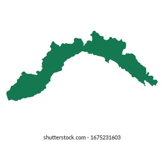 Map of Liguria as vector illustration