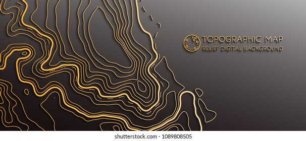 Map line of topography. Vector abstract topographic map concept with space for your copy. Mountain hiking. Gold map