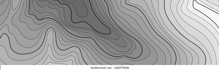 Map line of topography. Vector abstract topographic map concept with space for your copy. Black and white wave. Abstract paper cut. Abstract colorful waves. Wavy banners. Color geometric form. - Vecto