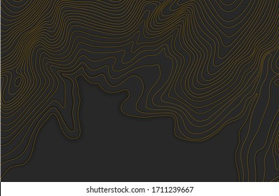 Map line of topography.Dark topographic map concept with space for your copy.Mountain hiking. 3D Cartography concept background. Map mockup infographics. World map Template. Stock vector illustration