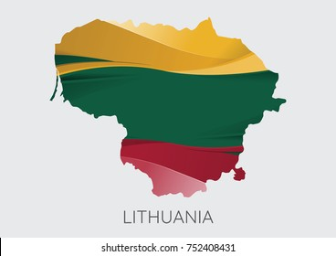 Map Of Lithuania With Flag As Texture Isolated On Grey Background. Vector Illustration