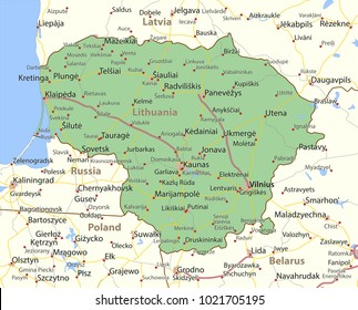 Map of Lithuania. Shows country borders, urban areas, place names and roads. Labels in English where possible.Projection: Mercator.