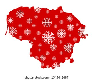 Map of Lithuania with snowflakes
